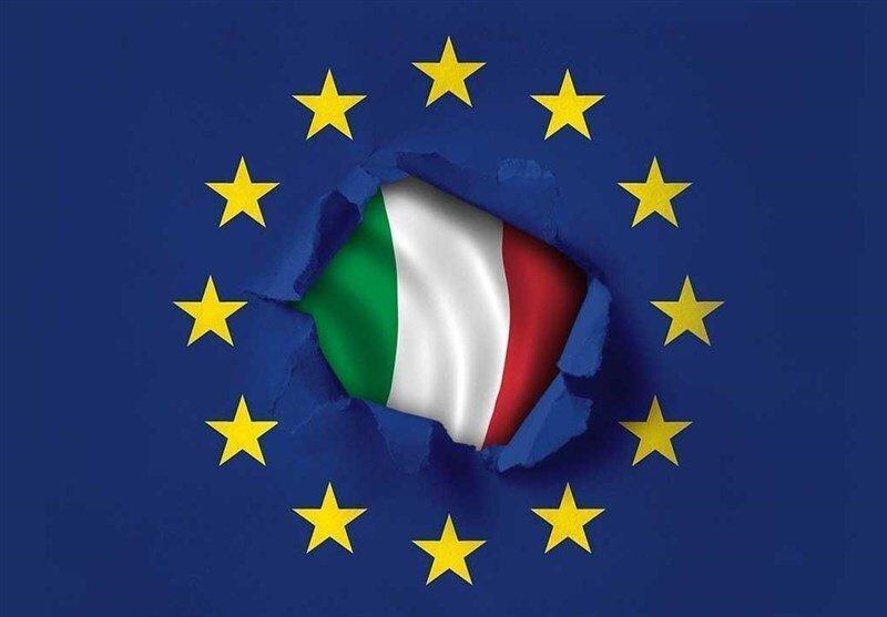 به آتش کشیدن پرچم اتحادیه اروپا توسط کاربران ایتالیایی، عکس
