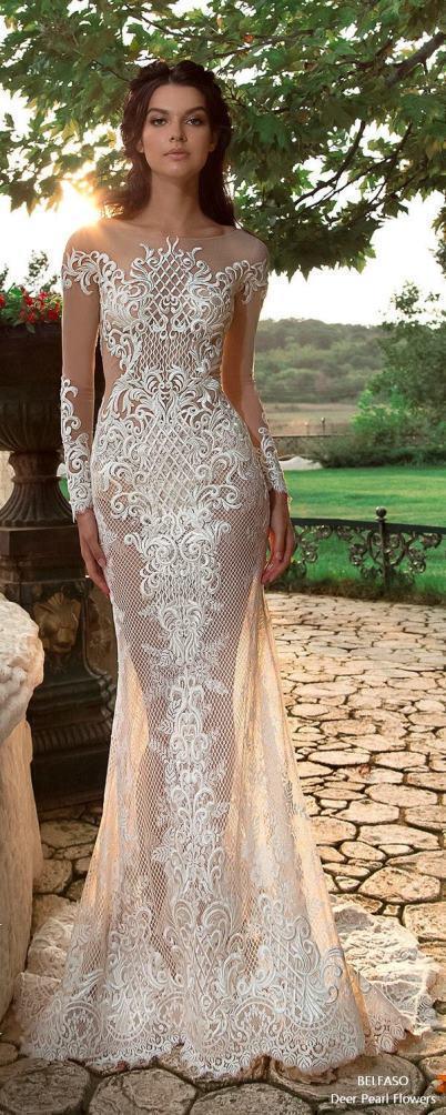 لباس عروس 2018؛ لباس عروس بدن نما و طرح شکوفه دار